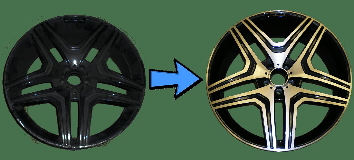 Llanta negra a Negro Brillo Pulido Diamantado